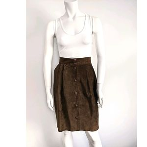Vintage high waisted suede button down skirt